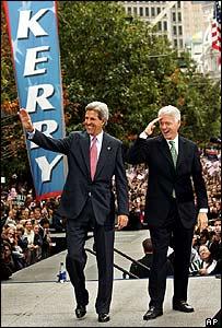 John Kerry (L) with Bill Clinton in Philadelphia, Pennsylvania