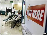 Early voting at a polling station in Monterey Park, California