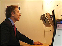 Tony Blair has biometric tests on Monday