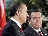Recep Tayyip Erdogan and Gerhard Schroeder