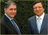 European Union Commissioner-designate for Justice Rocco Buttiglione, left, poses with EU Commission President-designate Jose Manuel Barroso