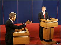George Bush and John Kerry at a recent TV debate