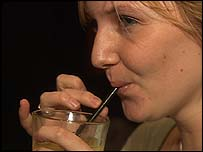 Kim Wilson, a 21-year-old claims handler, enjoys a drink