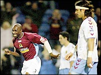 Mo Camara celebrates Burnley's second goal