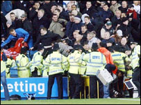 Trouble at Millwall v Liverpool