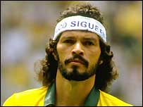 Socrates in action for Brazil in 1986