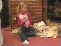 Rosie May Storrie and her pet rabbit Snowflake