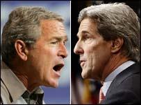 Presidente de EE.UU., George W. Bush, y senador John Kerry
