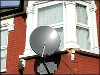 Satellite dish attached to house