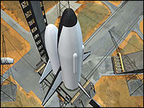 Artists impression of the two stage to orbit launcher  (Image: Eads Space)