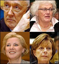 Clockwise from top left: Laszlo Kovacs, Mariann Fischer-Boel, Neelie Kroes and Ingrida Udre