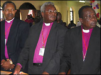 Opening ceremony of the African Anglican Bishops Conference (Rev Emmanuel Kolini, primate of Rwanda (l), Rev Bernard Malango, primate of Central Africa and Rev Joseph Morona, primate of Sudan)