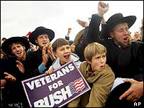 Bush supporters, including Amish men, welcome the president to Pennsylvania