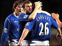 Lee Carsley (r) is congratulated after scoring against Preston
