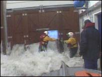 Flooded lifeboat station