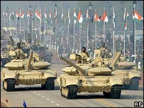 Tanks on display during India's Republic Day parade