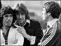 Stan Bowles with Kevin Keegan and Emlyn Hughes
