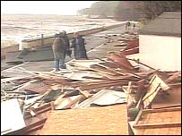 Destroyed beach huts at Dawlish