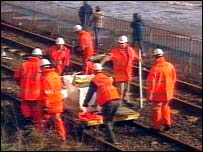 Network Rail staff on track