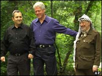Former President Bill Clinton with Barak and Arafat in 2000