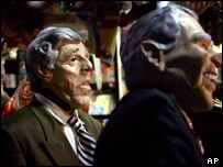 Halloween masks of John Kerry (l) and George Bush (r) unveiled at a press preview in New York