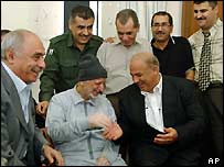 Yasser Arafat and aides