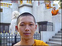 Sopheak, a monk at the Wat Ounalom complex, Phnom Penh
