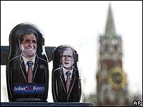 Матрешки с изображением Джона Керри и Джорджа Буша