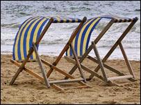 Deckchairs on beach, PA
