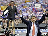 John Kerry with Bruce Springsteen at a rally in Madison, Wisconsin