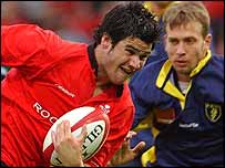 Mike Phillips in action for Wales against Romania