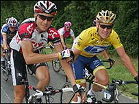 Ivan Basso (left) and Lance Armstrong