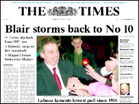 The Times front page after Labour's win in the 2001 election