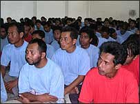 Detainees at a military camp in Thailand