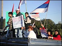 Broad Front coalition supporters in a convoy in Uruguay