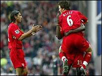 Liverpool's Milan Baros and John Arne Riise