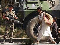 A French soldier from the Isaf force in Kabul, Afghanistan