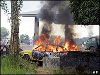 Car burning during riots