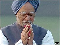 Indian Prime Minister Manmohan Singh at a memorial for Indira Gandhi