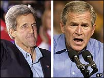 John Kerry in Ohio and George W Bush in Wisconsin, both on Saturday