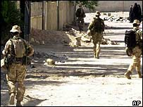 British troops patrolling in Basra