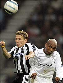 Newcastle's Craig Bellamy and Bolton's El-Hadji Diouf