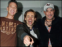 Ryan Molloy with two of the original band members, Mark O'Toole (left) and Paul Rutherford