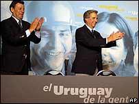 Tabaré Vázquez (der), con su compañero de fórmula, Rodolfo Nim