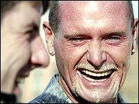 Paul Gascoigne, and Peter Beardsley, ex-Newcastle United footballers