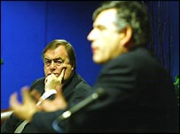 John Prescott looks on as Gordon Brown speaks