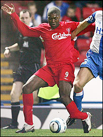 Liverpool striker Djibril Cisse suffered an appalling injury against Blackburn