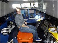 Ellen MacArthur in the cabin of her trimaran B&Q