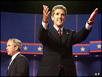 John Kerry and George W Bush after their first televised debate