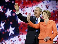 George W and Laura Bush at the 2004 Republican convention